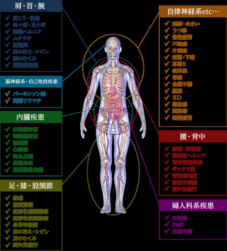 いの徳整骨院・治療院 慢性症状 肩こり 腰痛 自律神経